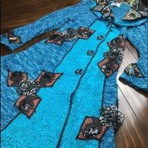 Pretty Angel Boho blue Coat cashmere NWT XL